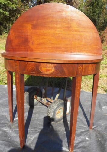 Antique Hepplewhite Card Table Inlaid Mahogany Wall Hallway bell flowers Urn