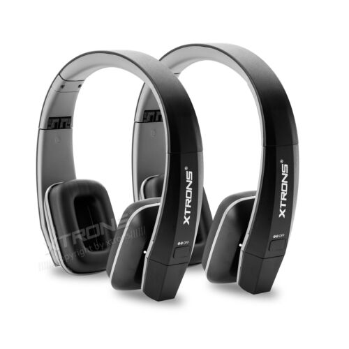 2pcs Black Headphones Wireless Cordless IR Infrared Stereo Headset Dual Channel