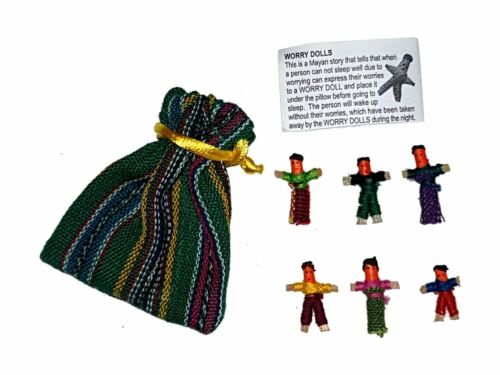 Worry Doll - 6 X MINI WORRY DOLLS in TEXTILE BAG - AQUA