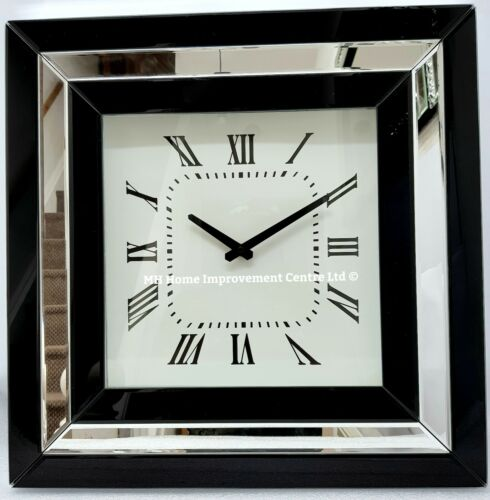 Mirrored Black Clock Square Sparkly Silver Border Large 50x50cm Wall Hung