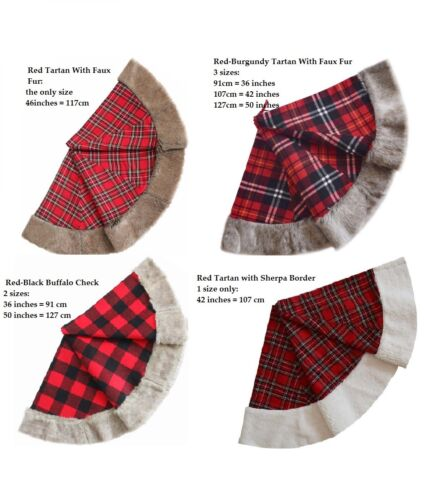 Christmas Tree Skirt Xmas Red Burgundy Tartan Faux Fur Check Plaid Buffalo Black