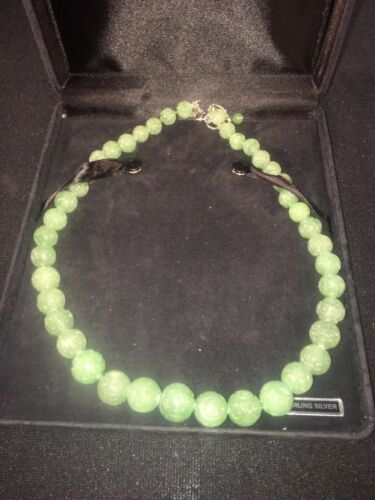 STERLING AND CARVED GREEN JADE BEADED NECKLACE GSJ