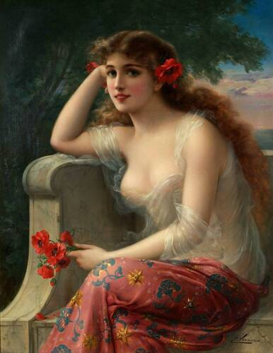 """""""Girl With a Poppy""""  by Emile Vernon"""