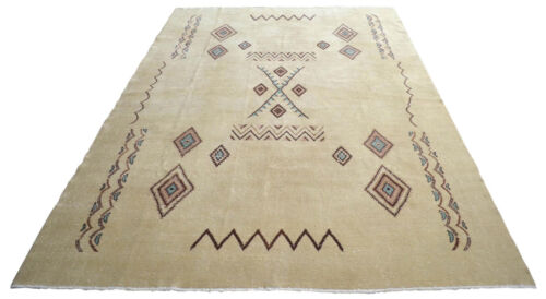 "Moroccan Beni Ourain Style Oushak Rug. Low Pile Knotted Turkish Rug 83"" x 118"""
