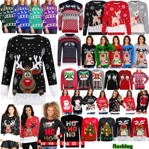Womens Mens Ladies Unisex Xmas Christmas Jumpers Knitted Reindeer Retro 3D LIGHT <br/> Reindeer Rudolph Santa Penguin Novelty Retro Classic