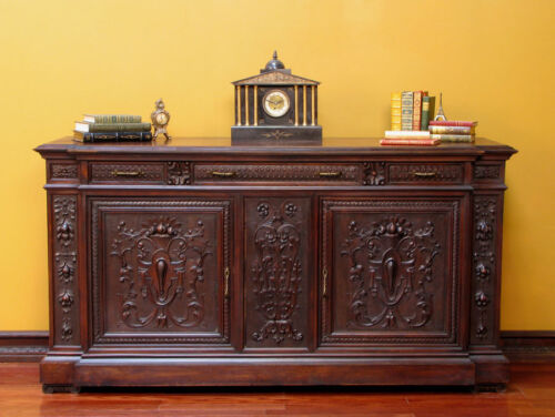 Antique Italian Renaissance Carved Sideboard Buffet