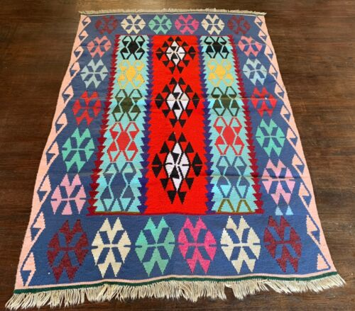 "Handmade Teal, Red and Pink Kilim 3'10"" x 5'7"""
