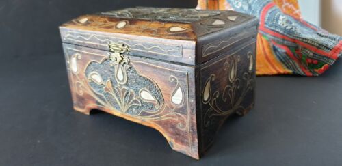 Old Middle Asian Carved & Inlaid Wooden Box …beautiful collection & accent piece
