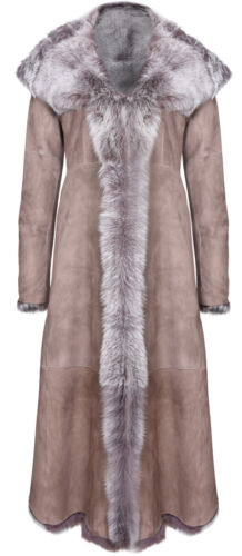 Taupe Full Length Hooded Ladies Suede Toscana Sheepskin Leather Trench Coat