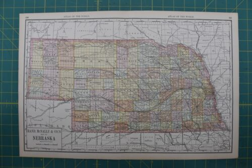 Nebraska Vintage Original 1892 Rand McNally World Atlas Map Lot
