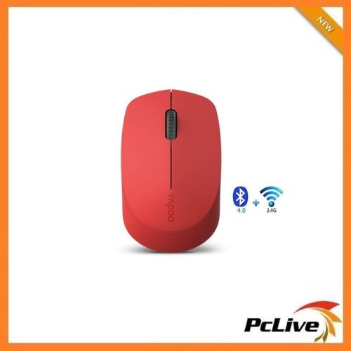 NEW Rapoo M100 Silent Wireless Bluetooth 4.0 Optical Mouse Red 1300DPI PC Laptop