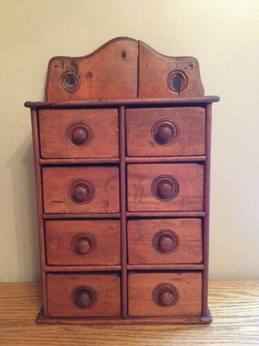ANTIQUE Primitive Spice Cupboard Apothecary Wall / Table Cabinet with 8 Drawers