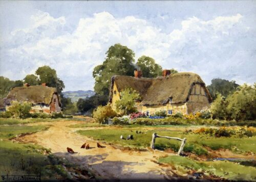 Chickens before Thatched Cottage by Henry Stannard   Giclee Canvas Print  Repro