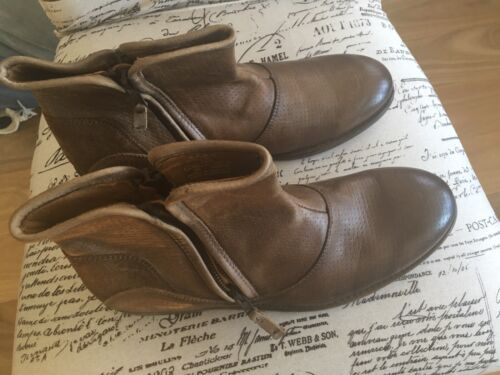 ZARA MAN BROWN TAN REAL BEAUTIFUL LEATHER  BOOTS ZIPS ON BOTH SIDES BRAND NEW