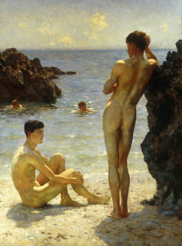 Lovers of the Sun by Henry Scott Tuke Giclee Canvas Print Repro