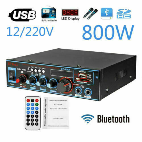 AMPLIFICATORE HIFI AUDIO 800W 12V 220V USB SD FM RADIO PER PC DVD AUTO BT-309A