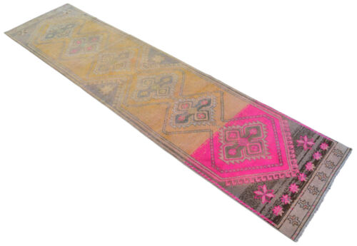 3x12 Rug Kurdish Runner Rug Hand Knotted Low Pile Long Runner Actual 36x144 inch
