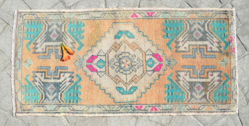 Kitchen Sink Rug Hand Made Bath Sink Mat Home Deco Faded Mini Rugs 1.7 x 3.3 ft