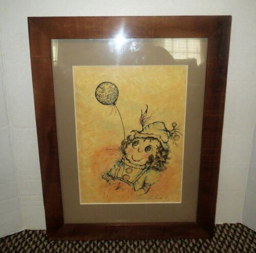 Signed Italian Mid Century Silk Screen Print WHIMSICAL CIRCUS CLOWN WITH BALLOON