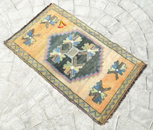 "Vintage Distressed Small Area Rug Hand Knotted Turkish Yastik Rug 1'10"" x 3'1"""