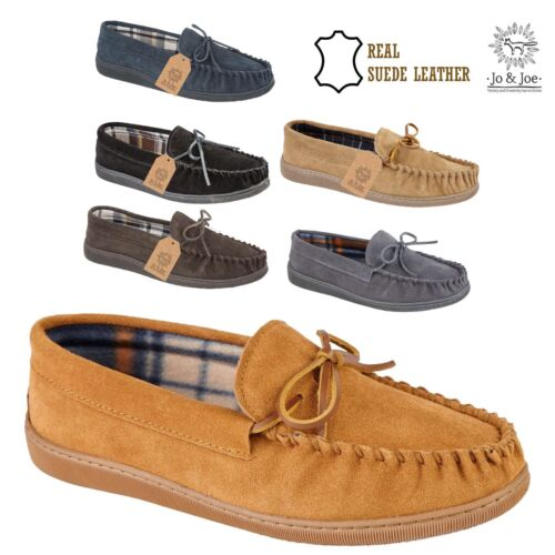d734d563edea MENS NEW ENGLAND SUEDE LEATHER MOCCASIN SLIPPERS LOAFERS WARM LINED SHOES  SIZES