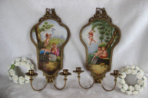 PAIR gorgeous French Porcelain Limoges Plaques wall sconces candle holder putti
