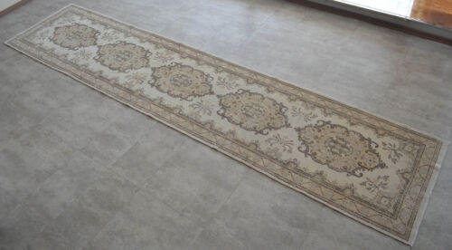 """MAjestic Hand Knotted Turkish Oushak Runner Distressed Hallway Rug 2'9"""" x 12'7"""""""
