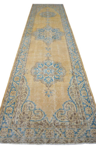 """3x12 Majestic Hand Knotted Turkish Oushak Runner Distressed Hallway Rug 38""""x146"""""""