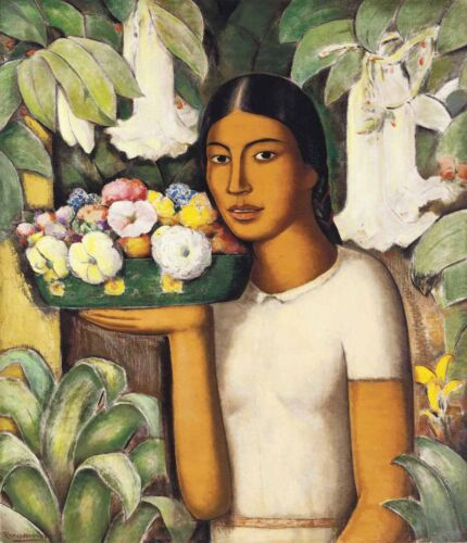 Woman with Flowers  by Alfredo Martinez  Giclee Canvas Print Repro