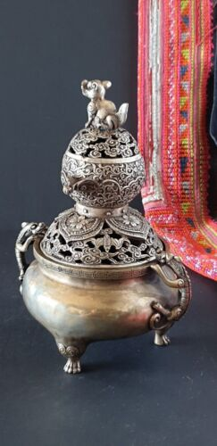 Old Chinese Silver Plated Bronze / Brass Incense Burner with Lid… beautiful...