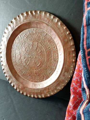 Old Aztec Style Copper Tray …beautiful display and accent piece
