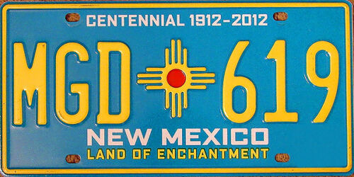 New Mexico CENTENNIAL License Plate TURQUOISE LAND OF ENCHANTMENT