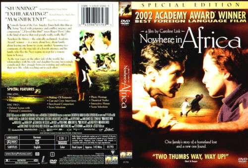 NOWHERE IN AFRICA 2002 Academy Award Win  NEW DVD FREE POST mmoetwil@hotmail.com