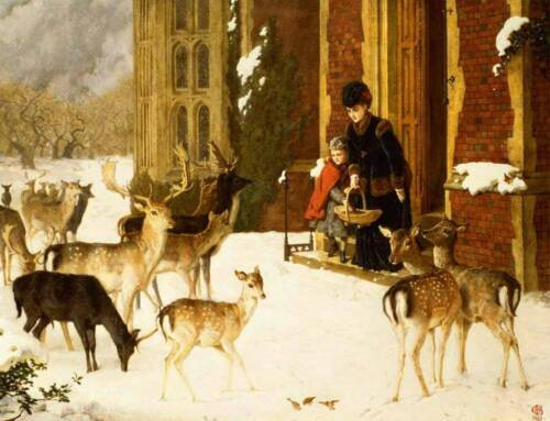 Old Time Mother and Daughter feeding Deer in Winter by Charles Burton Barber