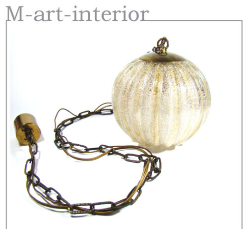 Murano Globe Glass 1 of 3 Ceiling Lamp Pendant by BAROVIER & TOSO Italy 1960s