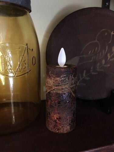 """Primitive grungy AUTHENTIC Luminara 3"""" votive candle spiced aged grubby"""
