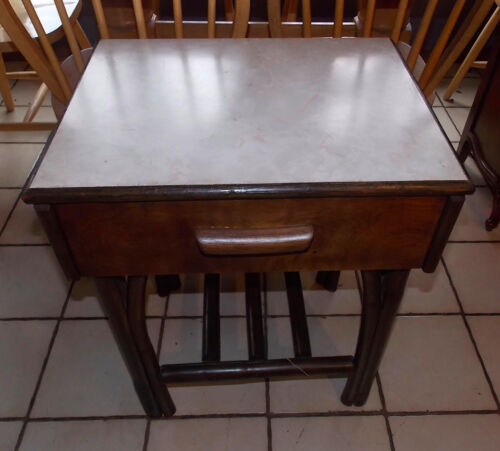 MId Century Rattan Formica Top Nightstand  / Side Table  (NS48)