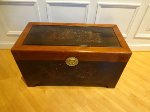 Chinese Antique Hand Carved Camphor Wood Chest Trunk