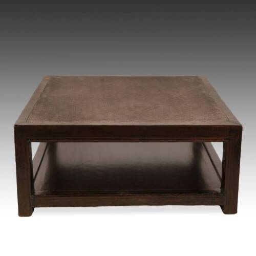 ANTIQUE CHINESE QING LOW TABLE ELM RATTAN INSET CHINESE FURNITURE 19TH C.