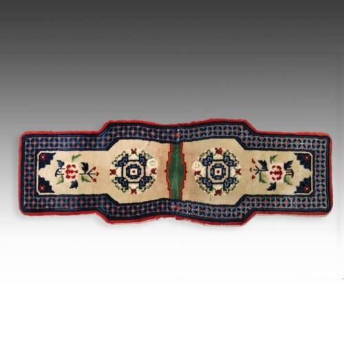 ANTIQUE WOOL PILE SADDLE RUG MONGOLIA CHINA TEXTILES FLORAL EARLY 20TH C.