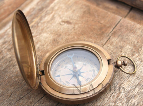 Nautical Push Button Compass Hand-Made Vinage Gift Solid Brass Marine Compass 3""
