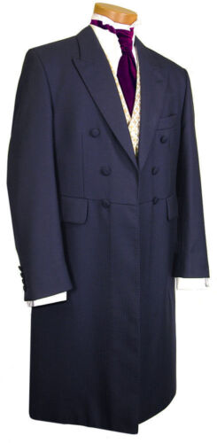 CHEAP MENS NAVY BLUE VICTORIAN STAGE FROCKCOAT WEDDING LONG LENGTH JACKET