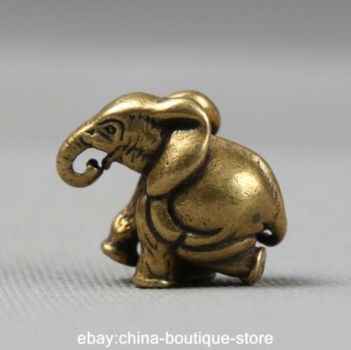 31MM Collect Small Curio Chinese Fengshui Bronze Lovable Animal Elephant Pendant