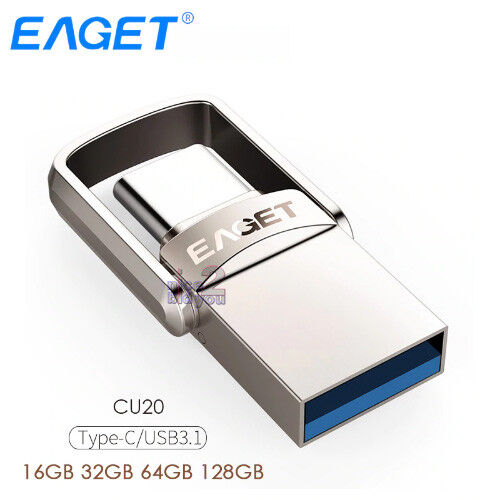 EAGET CU20 USB 3.0 Type-C 3.1 2-In-1 Rotary Design USB3.0 Memory Stick Pen Drive