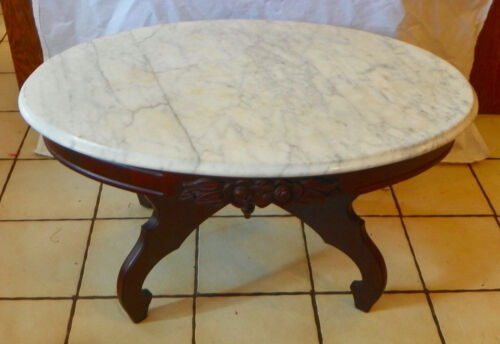 Mahogany Carved Oval Marble Top Coffee Table  (CT176)