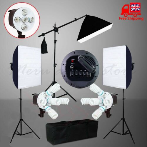Photography Studio Continuous Softbox Lighting Boom Arm Soft Box Light Stand Kit