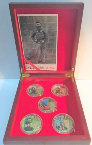 5 NED KELLY Outback Helmet Art 1 Oz Coins, 24k 999 Gold plated, in Display Box