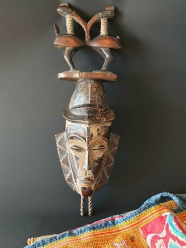 Old West African Carved Wooden Dance Mask / Wall Hanging  …beautiful accent & co