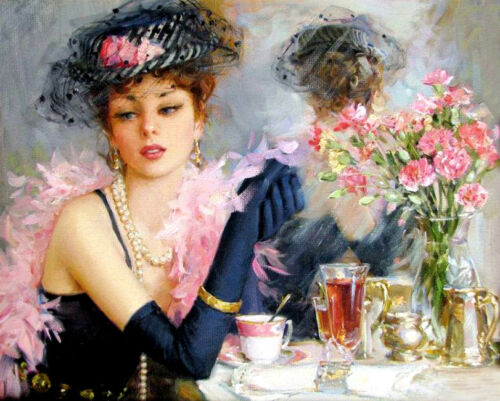 Temperament woman Oil Painting Giclee Art Printed on canvas L2034