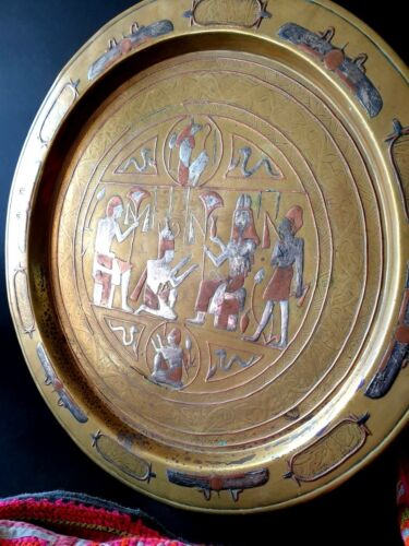 Old Egyptian Damascus Style Inlaid Brass Tray …beautiful collection piece